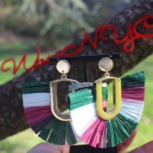 ANTHROPOLOGIE Raffia Festive Dangle long earrings